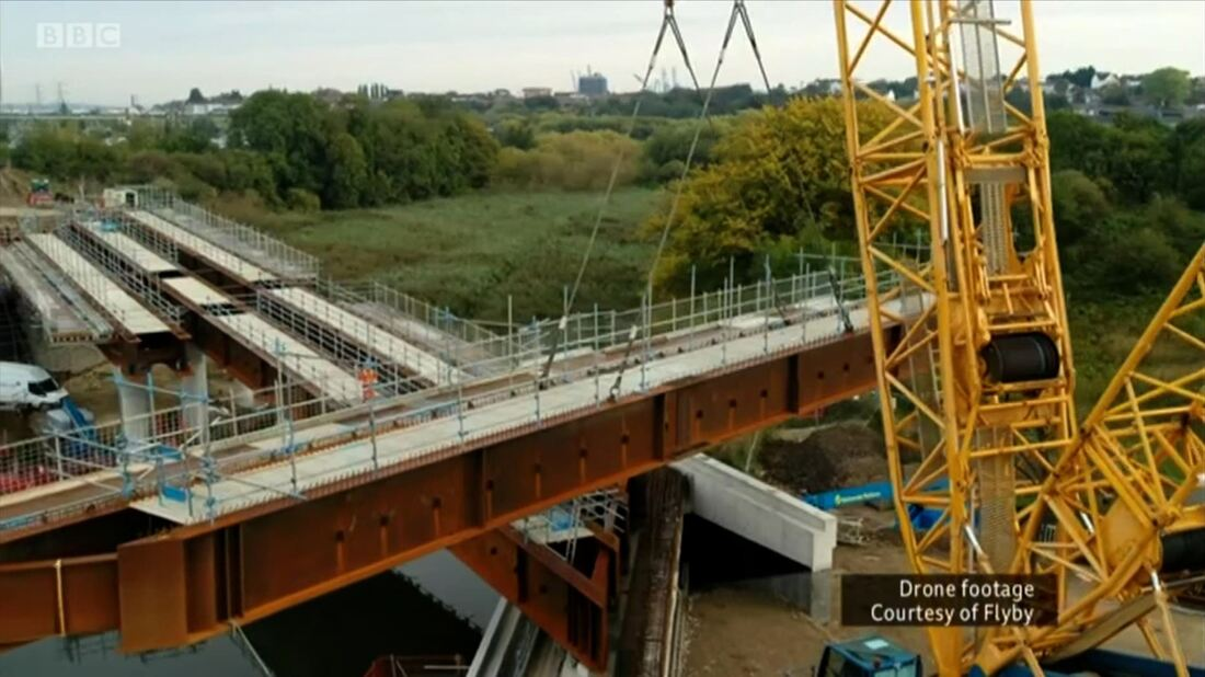 Aerial footage of Springhead Bridge being constructed in Ebbsfleet, Kent. Flyby Photography construction aerial progress report from October 2019.