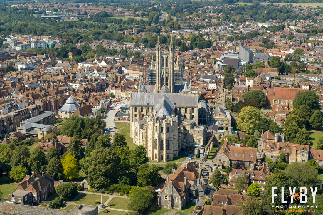 Aerial photo of Canterbuty Cathedral dominating over the City. Flyby Photography drone operators for hire in Kent & London