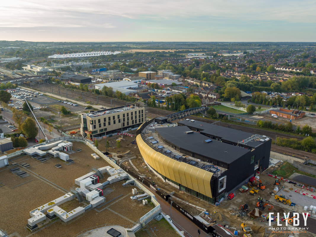 Aerial View of Elwick Place in Ashford, Kent. Flyby Photography hire a drone operator in Kent, Sussex & London.