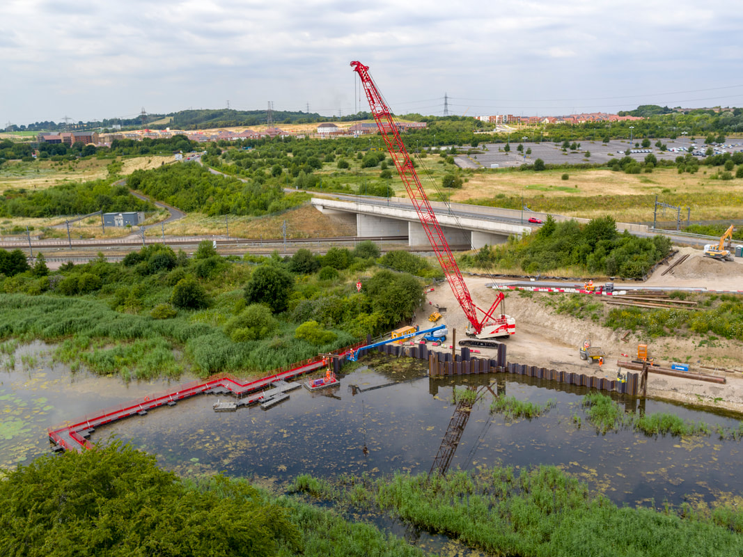 Aerial image of Springhead Bridge being constructed in Ebbsfleet, Kent. Flyby Photography construction aerial progress report from July 2018.