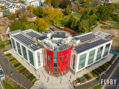 Aerial view of Ashford College, Ashford, Kent. Hire a drone operator. CAA approved drone operators offering Aerial Photography & Filming across Kent, Sussex, London and the South East.