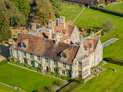 Aerial view of Horton Priory, Kent. Hire a drone operator. CAA approved drone operators offering Aerial Photography & Filming across Kent, Sussex, London and the South East.