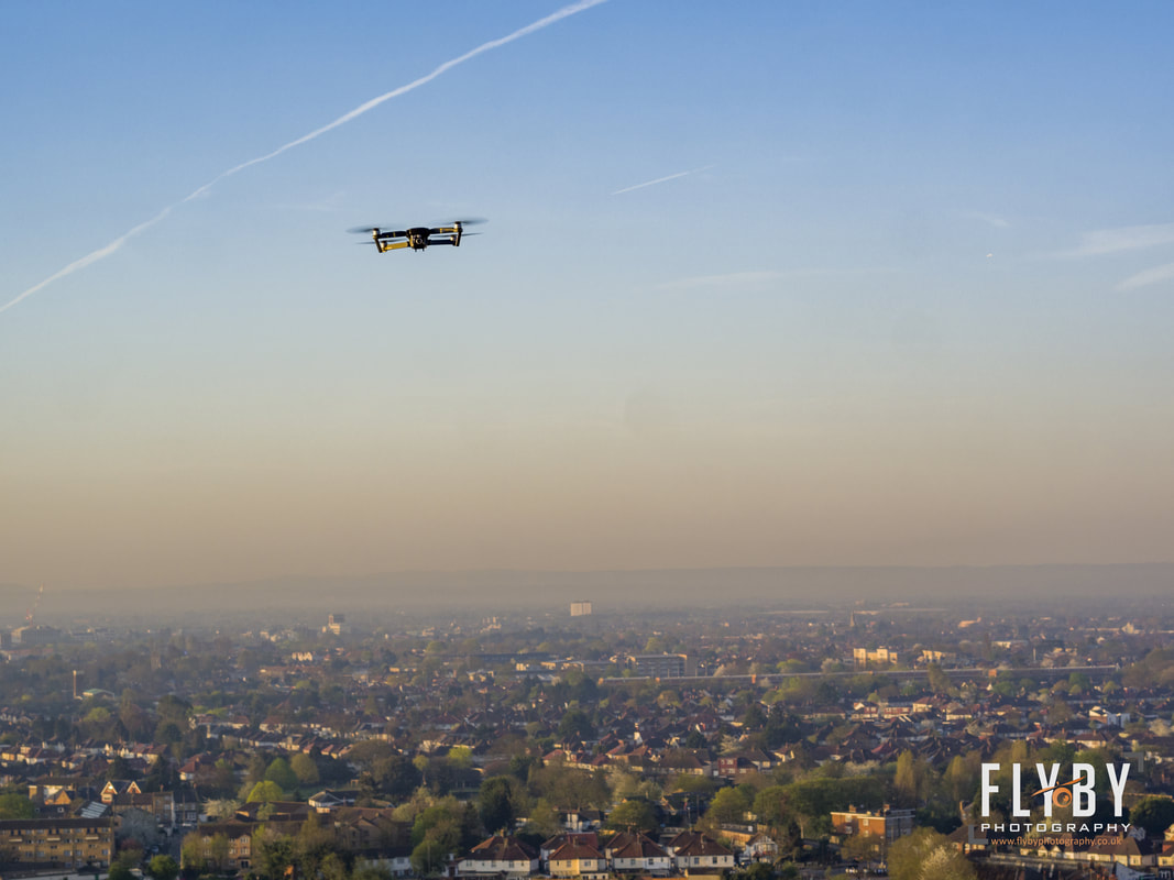UK drone laws 2018, changes to the drone laws. Image of drone flying over London from Flyby Photography- drone photography & video covering the South East