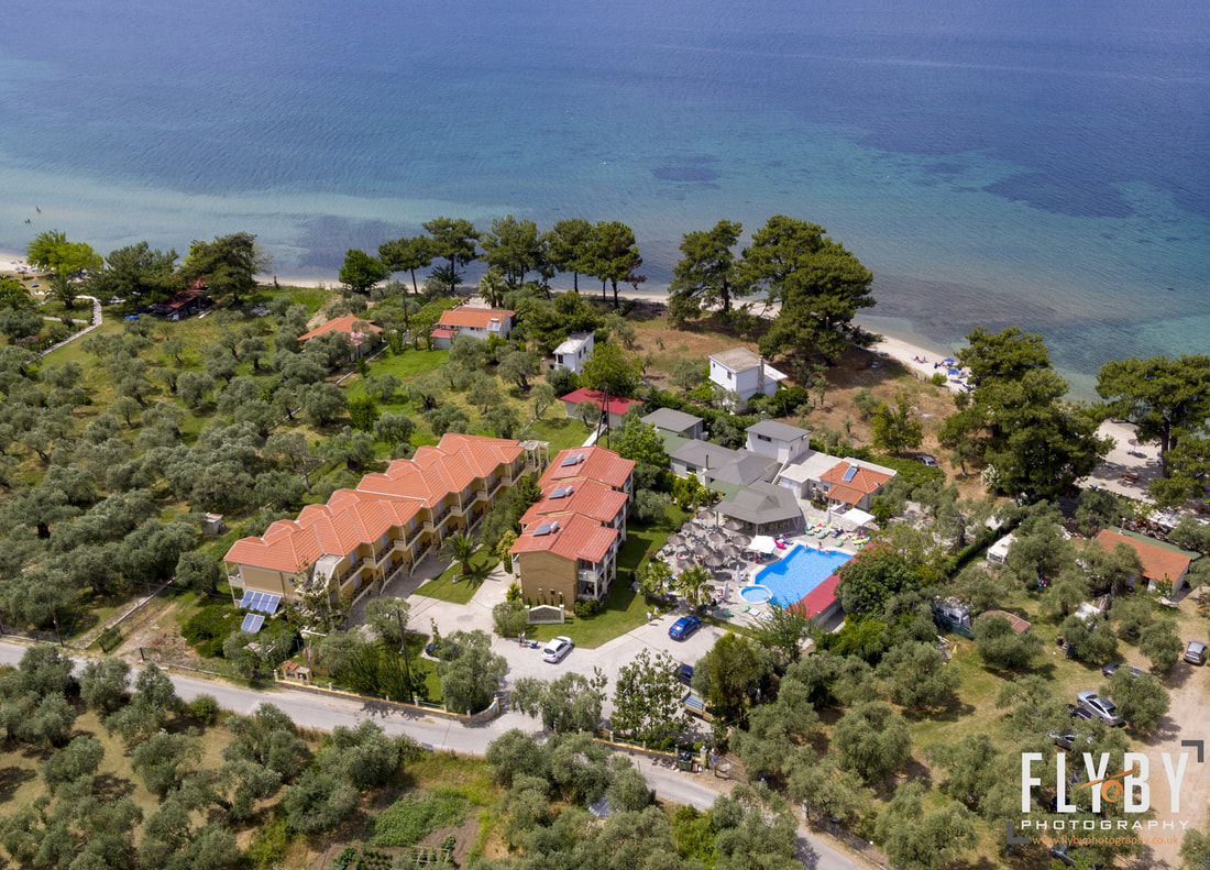 Aerial Photo of Hotel Zafira, Thassos Island, Greece. Drone shot of a Greek hotel and beach.