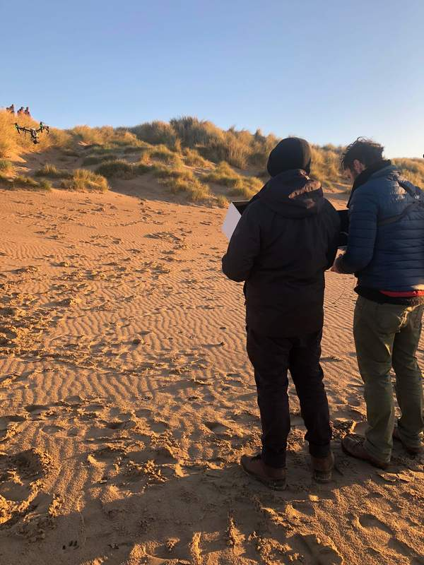 Aerial Filming at Camber Sands beack, East Sussex. Hire a drone operator for TV and online content shoots. CAA approved legal drone operators.