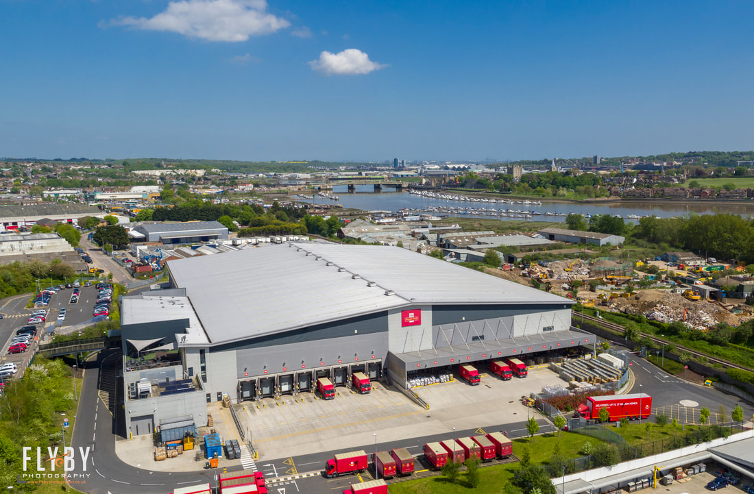 Aerial photo of Royal Mail MEDC in Strood, Kent. Commercial aerial photography by Flyby photography- Hire a licensed drone operator for Aerial Photography & Filming