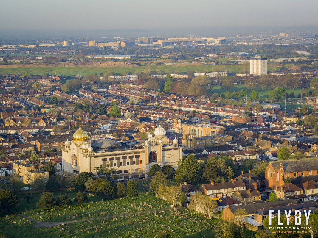Aerial Photo of Gurdwara Sri Guru Singh Sabha, sikh temple located in Southall, London, UK