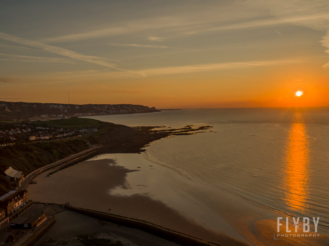 Aerial Photography & Filming company in Folkestone, Dover, Kent, UK. Sunny Sands Beach Aerial Photo by Flyby photography.