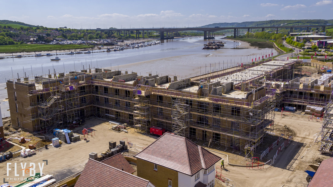 Aerial Photo of Temple Wharf, Strood site progression n 2018. Taken by Flyby Photography, a Kent based aerial photography company that operates throughout the South East.